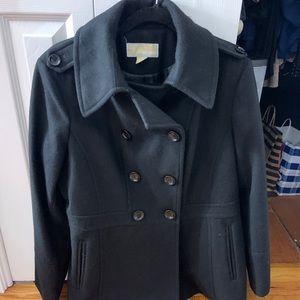 Black Michael Kors Button Down Pea Coat